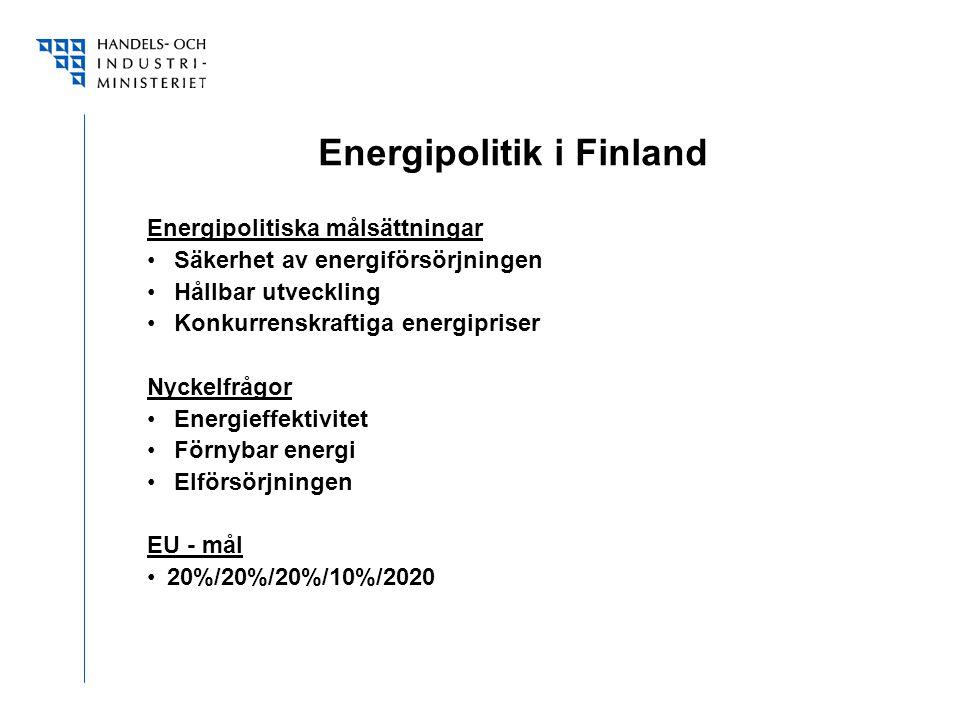 Energipolitik i Finland Energipolitiska målsättningar Säkerhet av energiförsörjningen Hållbar utveckling Konkurrenskraftiga energipriser Nyckelfrågor Energieffektivitet Förnybar energi Elförsörjningen EU - mål 20%/20%/20%/10%/2020
