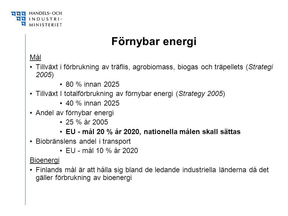 Förnybar energi Mål Tillväxt i förbrukning av träflis, agrobiomass, biogas och träpellets (Strategi 2005) 80 % innan 2025 Tillväxt I totalförbrukning av förnybar energi (Strategy 2005) 40 % innan 2025 Andel av förnybar energi 25 % år 2005 EU - mål 20 % år 2020, nationella målen skall sättas Biobränslens andel i transport EU - mål 10 % år 2020 Bioenergi Finlands mål är att hålla sig bland de ledande industriella länderna då det gäller förbrukning av bioenergi
