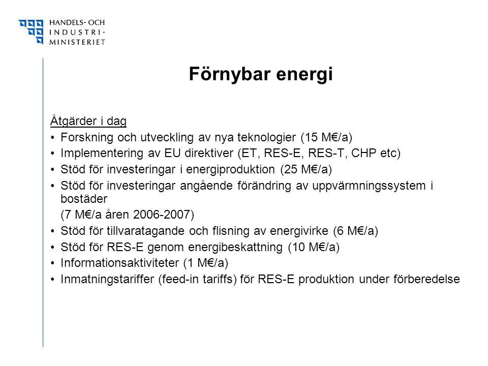 Förnybar energi Åtgärder i dag Forskning och utveckling av nya teknologier (15 M€/a) Implementering av EU direktiver (ET, RES-E, RES-T, CHP etc) Stöd för investeringar i energiproduktion (25 M€/a) Stöd för investeringar angående förändring av uppvärmningssystem i bostäder (7 M€/a åren 2006-2007) Stöd för tillvaratagande och flisning av energivirke (6 M€/a) Stöd för RES-E genom energibeskattning (10 M€/a) Informationsaktiviteter (1 M€/a) Inmatningstariffer (feed-in tariffs) för RES-E produktion under förberedelse