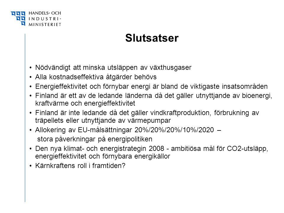 Slutsatser Nödvändigt att minska utsläppen av växthusgaser Alla kostnadseffektiva åtgärder behövs Energieffektivitet och förnybar energi är bland de viktigaste insatsområden Finland är ett av de ledande länderna då det gäller utnyttjande av bioenergi, kraftvärme och energieffektivitet Finland är inte ledande då det gäller vindkraftproduktion, förbrukning av träpellets eller utnyttjande av värmepumpar Allokering av EU-målsättningar 20%/20%/20%/10%/2020 – stora påverkningar på energipolitiken Den nya klimat- och energistrategin 2008 - ambitiösa mål för CO2-utsläpp, energieffektivitet och förnybara energikällor Kärnkraftens roll i framtiden