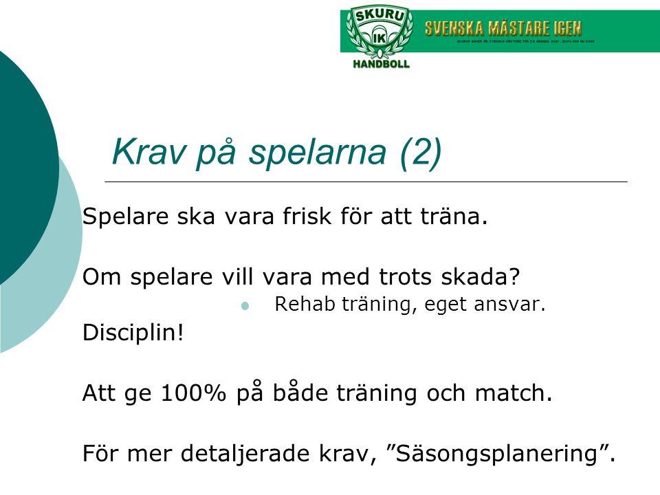 Krav på spelarna (2) Spelare ska vara frisk för att träna.