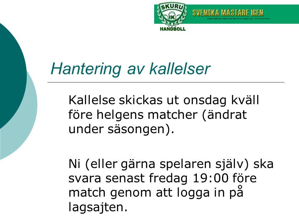 Hantering av kallelser Kallelse skickas ut onsdag kväll före helgens matcher (ändrat under säsongen). Ni (eller gärna spelaren själv) ska svara senast