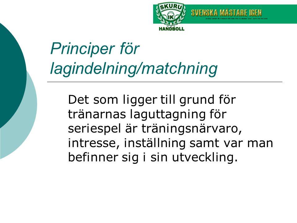 Principer för lagindelning/matchning Det som ligger till grund för tränarnas laguttagning för seriespel är träningsnärvaro, intresse, inställning samt var man befinner sig i sin utveckling.