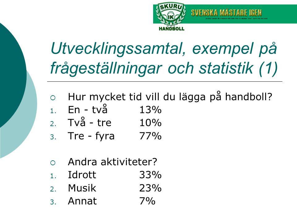 Utvecklingssamtal, exempel på frågeställningar och statistik (1)  Hur mycket tid vill du lägga på handboll.