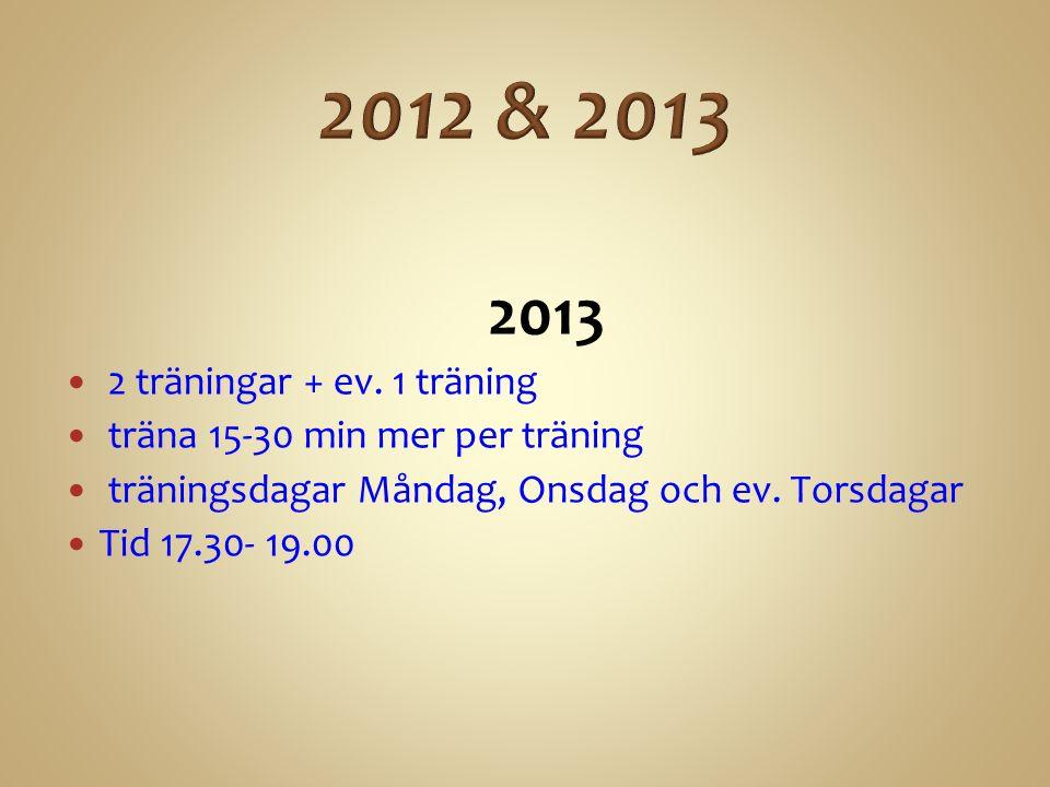 2013 2 träningar + ev.