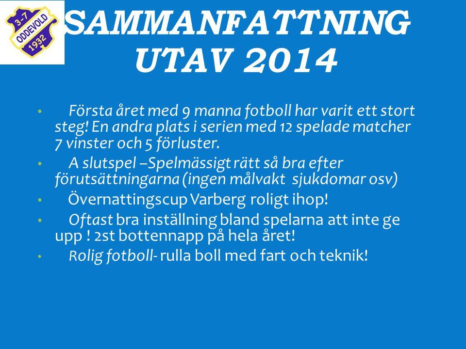 SAMMANFATTNING UTAV 2014 Första året med 9 manna fotboll har varit ett stort steg.