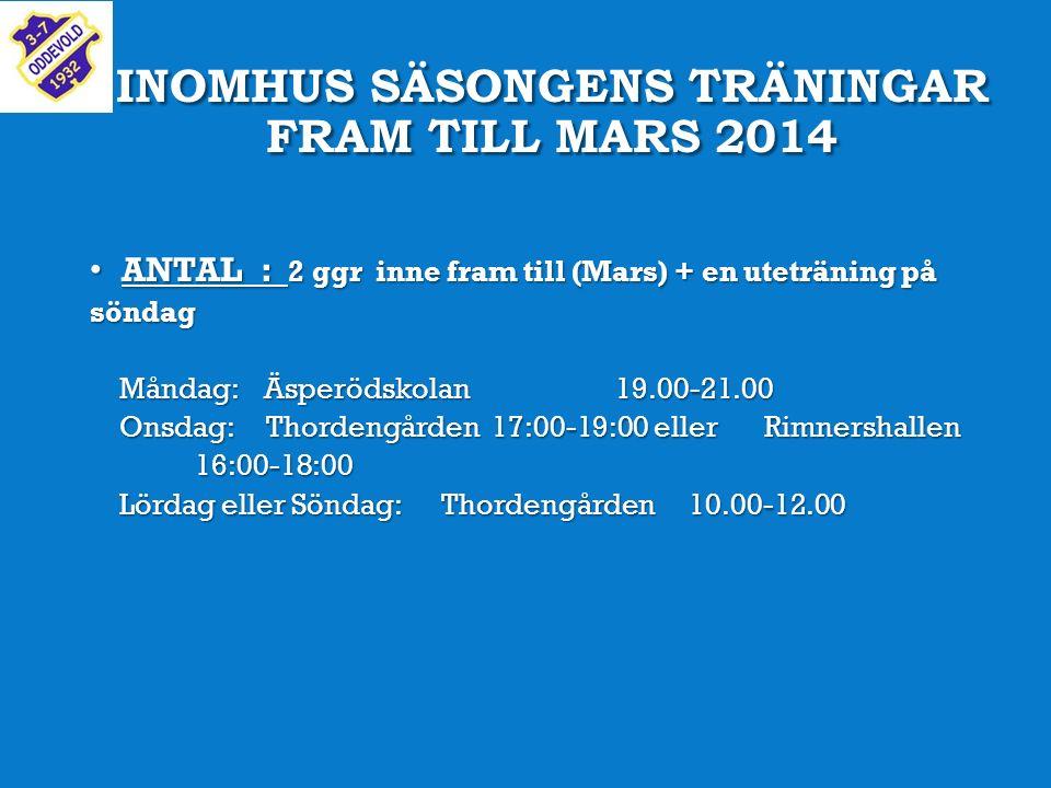 INOMHUS SÄSONGENS TRÄNINGAR FRAM TILL MARS 2014 ANTAL : 2 ggr inne fram till (Mars) + en uteträning på söndag ANTAL : 2 ggr inne fram till (Mars) + en uteträning på söndag Måndag: Äsperödskolan19.00-21.00 Måndag: Äsperödskolan19.00-21.00 Onsdag: Thordengården 17:00-19:00 eller Rimnershallen 16:00-18:00 Onsdag: Thordengården 17:00-19:00 eller Rimnershallen 16:00-18:00 Lördag eller Söndag: Thordengården 10.00-12.00 Lördag eller Söndag: Thordengården 10.00-12.00
