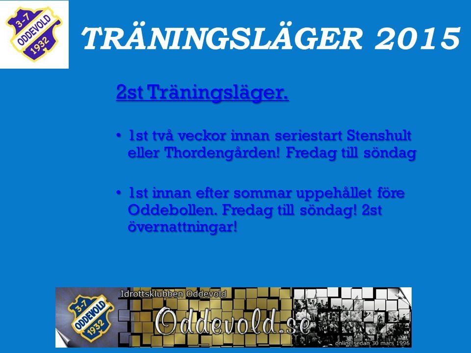 TRÄNINGSLÄGER 2015 2st Träningsläger. 1st två veckor innan seriestart Stenshult eller Thordengården! Fredag till söndag 1st två veckor innan seriestar