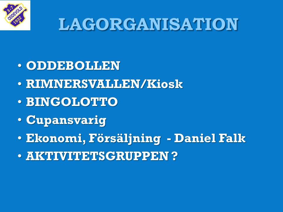 LAGORGANISATION ODDEBOLLEN ODDEBOLLEN RIMNERSVALLEN/Kiosk RIMNERSVALLEN/Kiosk BINGOLOTTO BINGOLOTTO Cupansvarig Cupansvarig Ekonomi, Försäljning - Daniel Falk Ekonomi, Försäljning - Daniel Falk AKTIVITETSGRUPPEN .