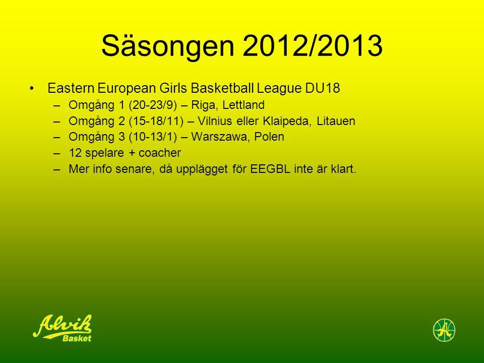 Säsongen 2012/2013 Eastern European Girls Basketball League DU18 –Omgång 1 (20-23/9) – Riga, Lettland –Omgång 2 (15-18/11) – Vilnius eller Klaipeda, Litauen –Omgång 3 (10-13/1) – Warszawa, Polen –12 spelare + coacher –Mer info senare, då upplägget för EEGBL inte är klart.