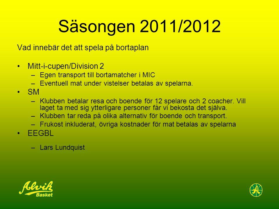 Säsongen 2011/2012 Vad innebär det att spela på bortaplan Mitt-i-cupen/Division 2 –Egen transport till bortamatcher i MIC –Eventuell mat under vistelser betalas av spelarna.