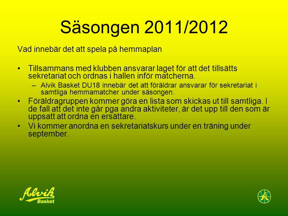 Säsongen 2011/2012 Vad innebär det att spela på hemmaplan Tillsammans med klubben ansvarar laget för att det tillsätts sekretariat och ordnas i hallen inför matcherna.