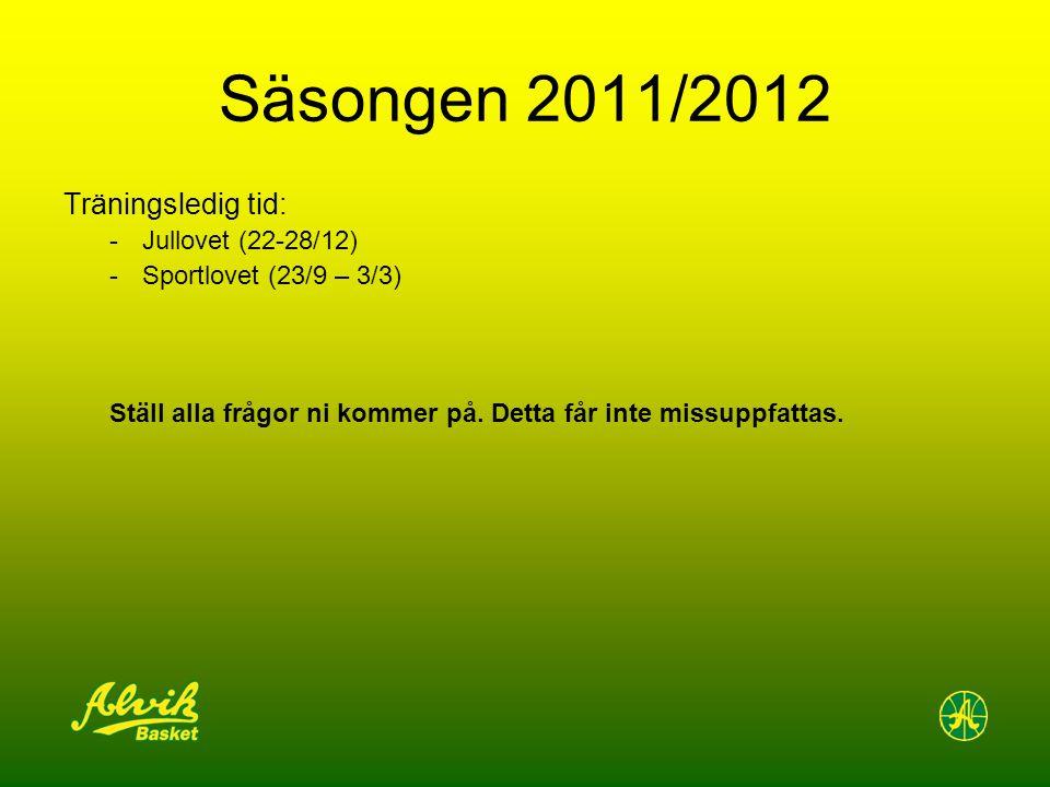 Säsongen 2011/2012 Träningsledig tid: -Jullovet (22-28/12) -Sportlovet (23/9 – 3/3) Ställ alla frågor ni kommer på.