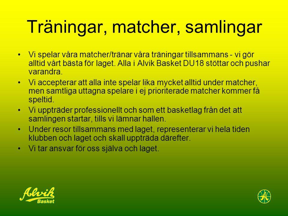 Träningar, matcher, samlingar Vi spelar våra matcher/tränar våra träningar tillsammans - vi gör alltid vårt bästa för laget. Alla i Alvik Basket DU18