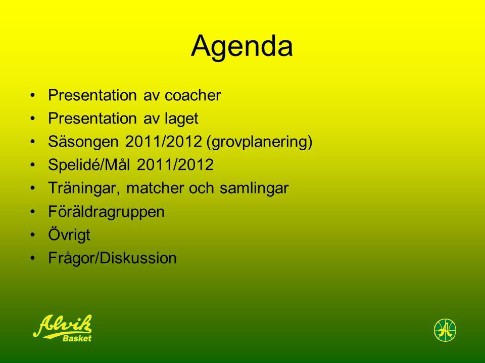 Agenda Presentation av coacher Presentation av laget Säsongen 2011/2012 (grovplanering) Spelidé/Mål 2011/2012 Träningar, matcher och samlingar Föräldragruppen Övrigt Frågor/Diskussion