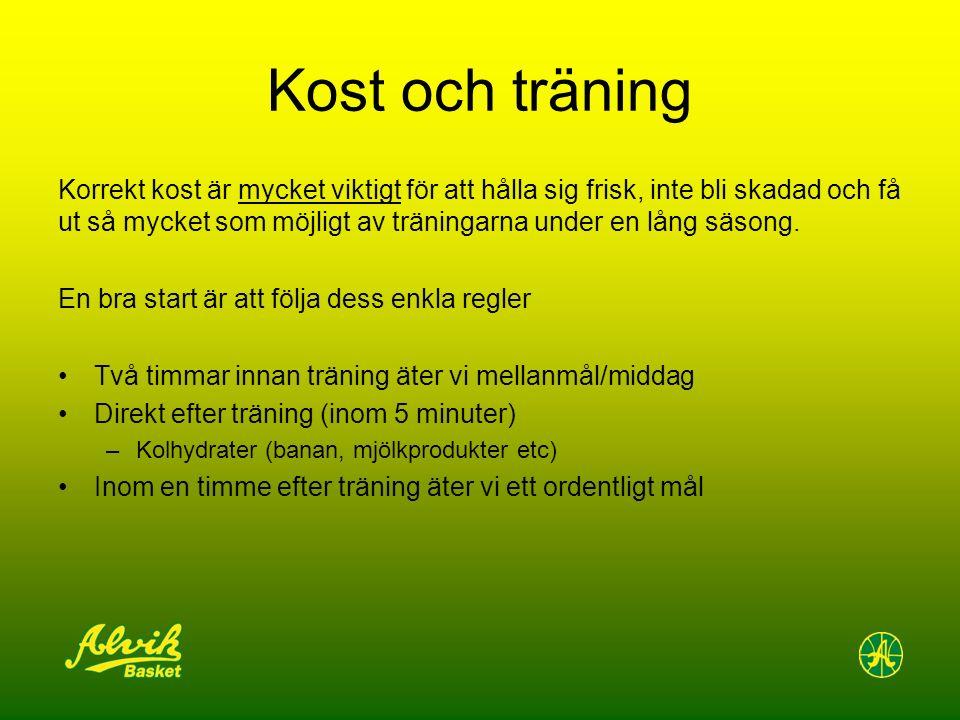 Kost och träning Korrekt kost är mycket viktigt för att hålla sig frisk, inte bli skadad och få ut så mycket som möjligt av träningarna under en lång säsong.