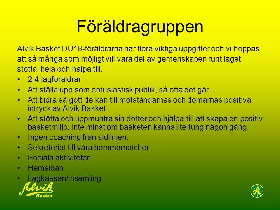 Föräldragruppen Alvik Basket DU18-föräldrarna har flera viktiga uppgifter och vi hoppas att så många som möjligt vill vara del av gemenskapen runt laget, stötta, heja och hälpa till.