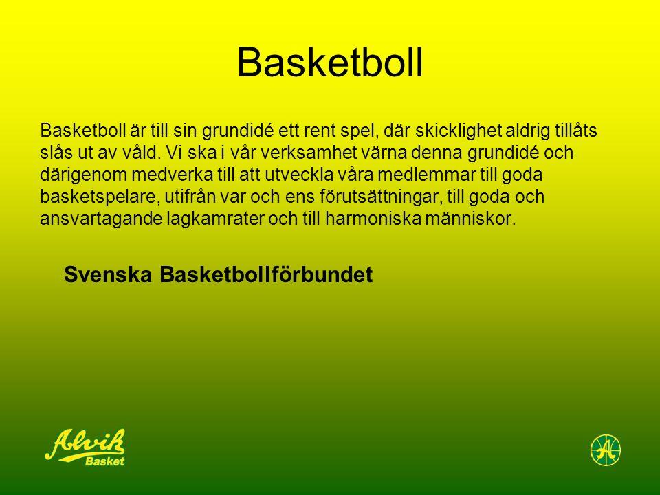 Basketboll Basketboll är till sin grundidé ett rent spel, där skicklighet aldrig tillåts slås ut av våld.