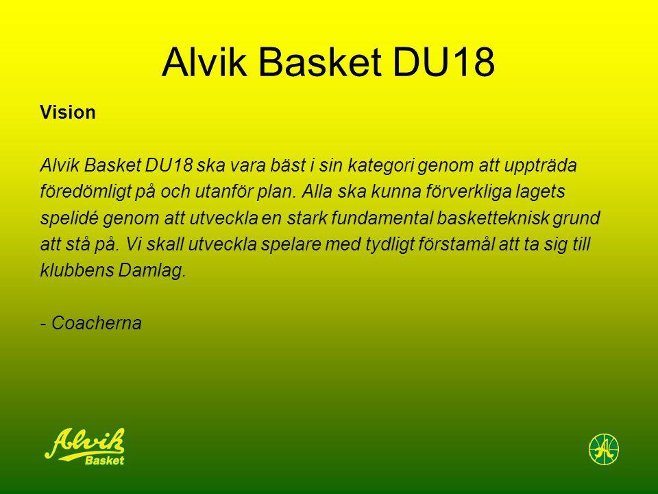 Alvik Basket DU18 Vision Alvik Basket DU18 ska vara bäst i sin kategori genom att uppträda föredömligt på och utanför plan. Alla ska kunna förverkliga