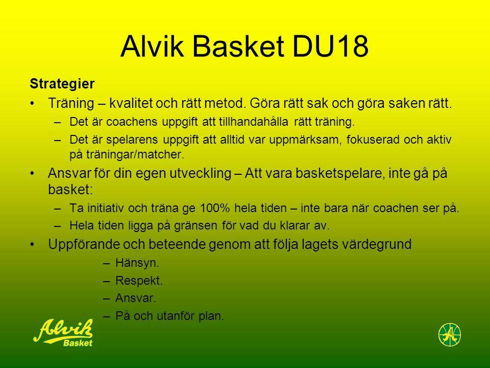 Alvik Basket DU18 Strategier Träning – kvalitet och rätt metod. Göra rätt sak och göra saken rätt. –Det är coachens uppgift att tillhandahålla rätt tr