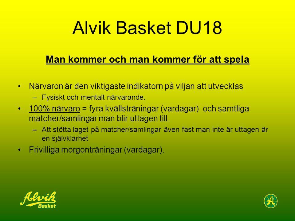 Alvik Basket DU18 Man kommer och man kommer för att spela Närvaron är den viktigaste indikatorn på viljan att utvecklas –Fysiskt och mentalt närvarande.