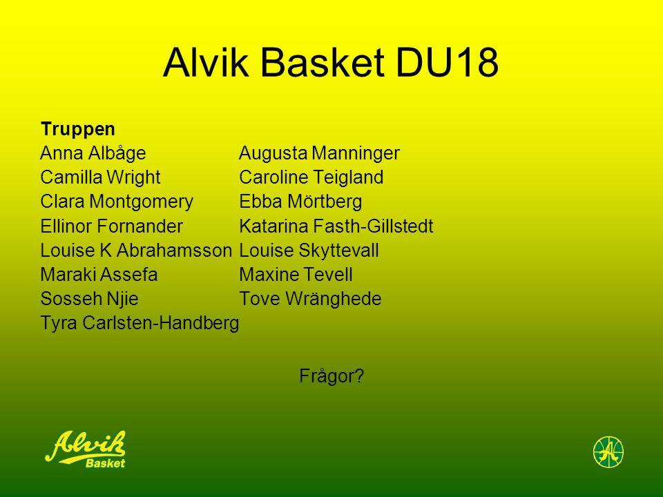 Alvik Basket DU18 Truppen Anna Albåge Augusta Manninger Camilla WrightCaroline Teigland Clara MontgomeryEbba Mörtberg Ellinor Fornander Katarina Fasth