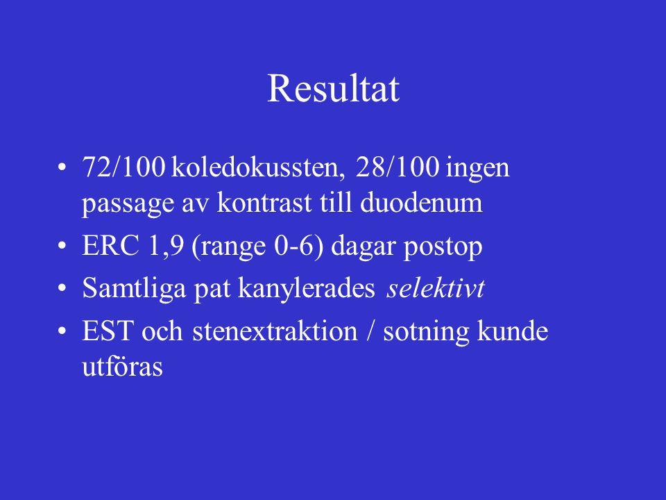 Resultat 72/100 koledokussten, 28/100 ingen passage av kontrast till duodenum ERC 1,9 (range 0-6) dagar postop Samtliga pat kanylerades selektivt EST och stenextraktion / sotning kunde utföras