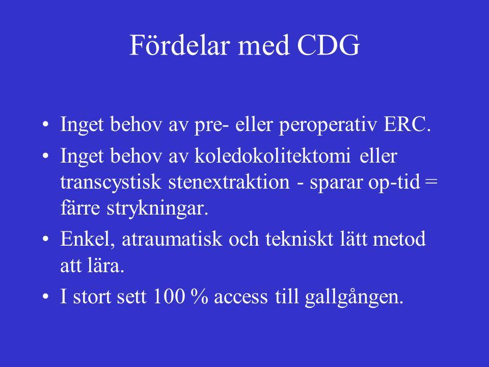 Fördelar med CDG Inget behov av pre- eller peroperativ ERC.