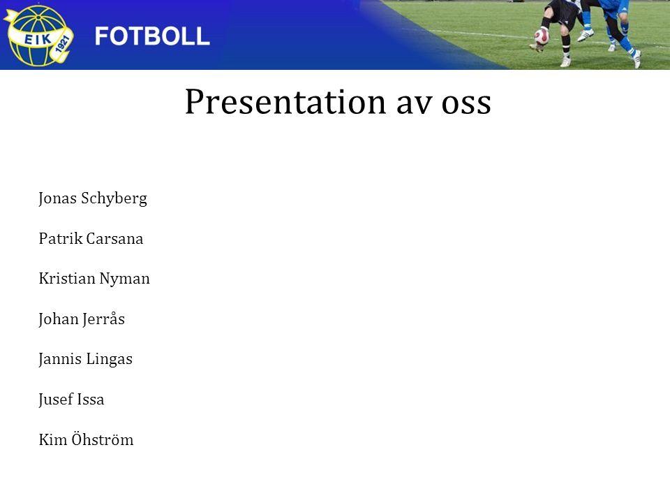 Presentation av oss Jonas Schyberg Patrik Carsana Kristian Nyman Johan Jerrås Jannis Lingas Jusef Issa Kim Öhström