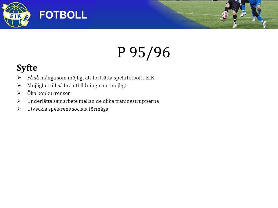 P 95/96 Syfte  Få så många som möjligt att fortsätta spela fotboll i EIK  Möjlighet till så bra utbildning som möjligt  Öka konkurrensen  Underlätta samarbete mellan de olika träningstrupperna  Utveckla spelarens sociala förmåga