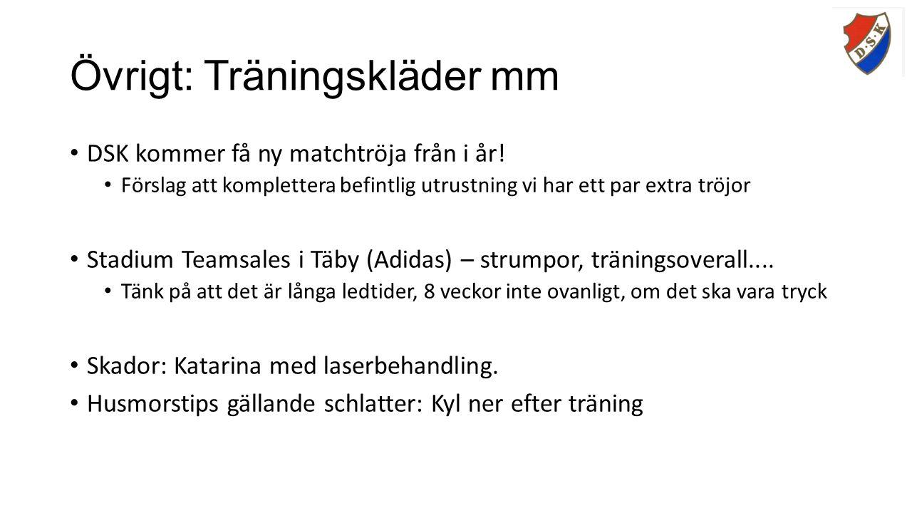 Övrigt: Träningskläder mm DSK kommer få ny matchtröja från i år.