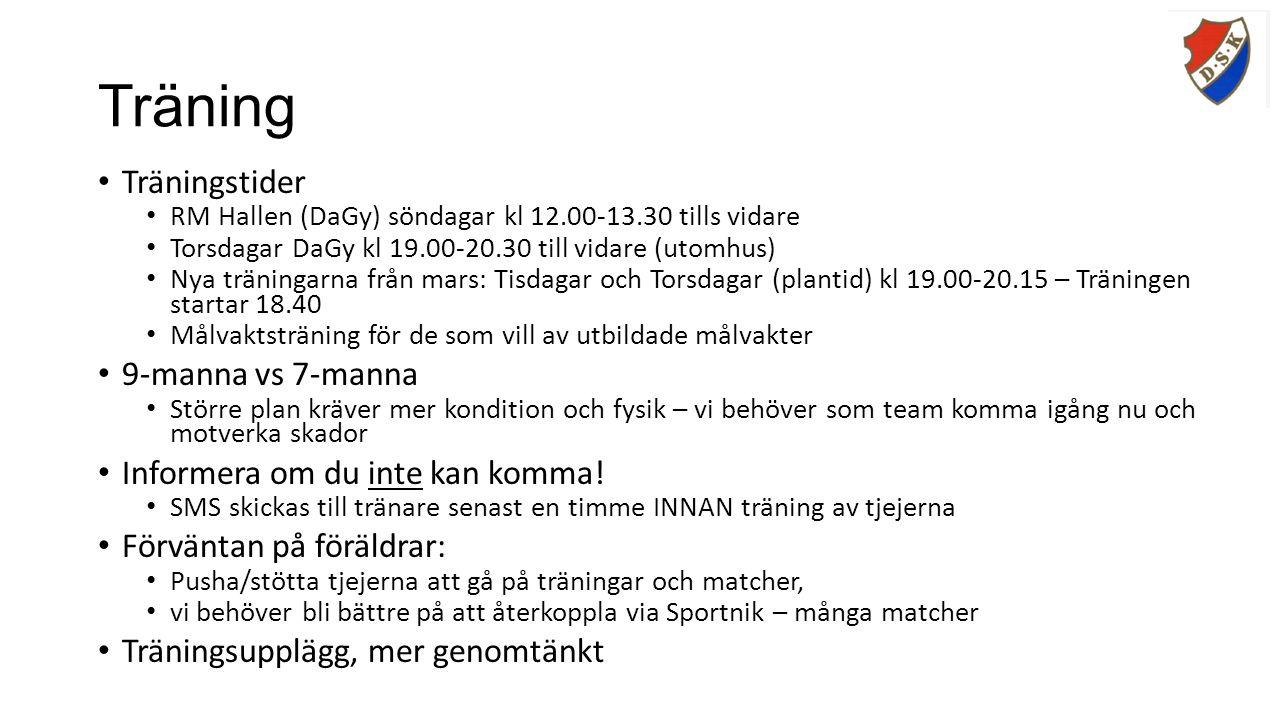 Träning Träningstider RM Hallen (DaGy) söndagar kl 12.00-13.30 tills vidare Torsdagar DaGy kl 19.00-20.30 till vidare (utomhus) Nya träningarna från mars: Tisdagar och Torsdagar (plantid) kl 19.00-20.15 – Träningen startar 18.40 Målvaktsträning för de som vill av utbildade målvakter 9-manna vs 7-manna Större plan kräver mer kondition och fysik – vi behöver som team komma igång nu och motverka skador Informera om du inte kan komma.