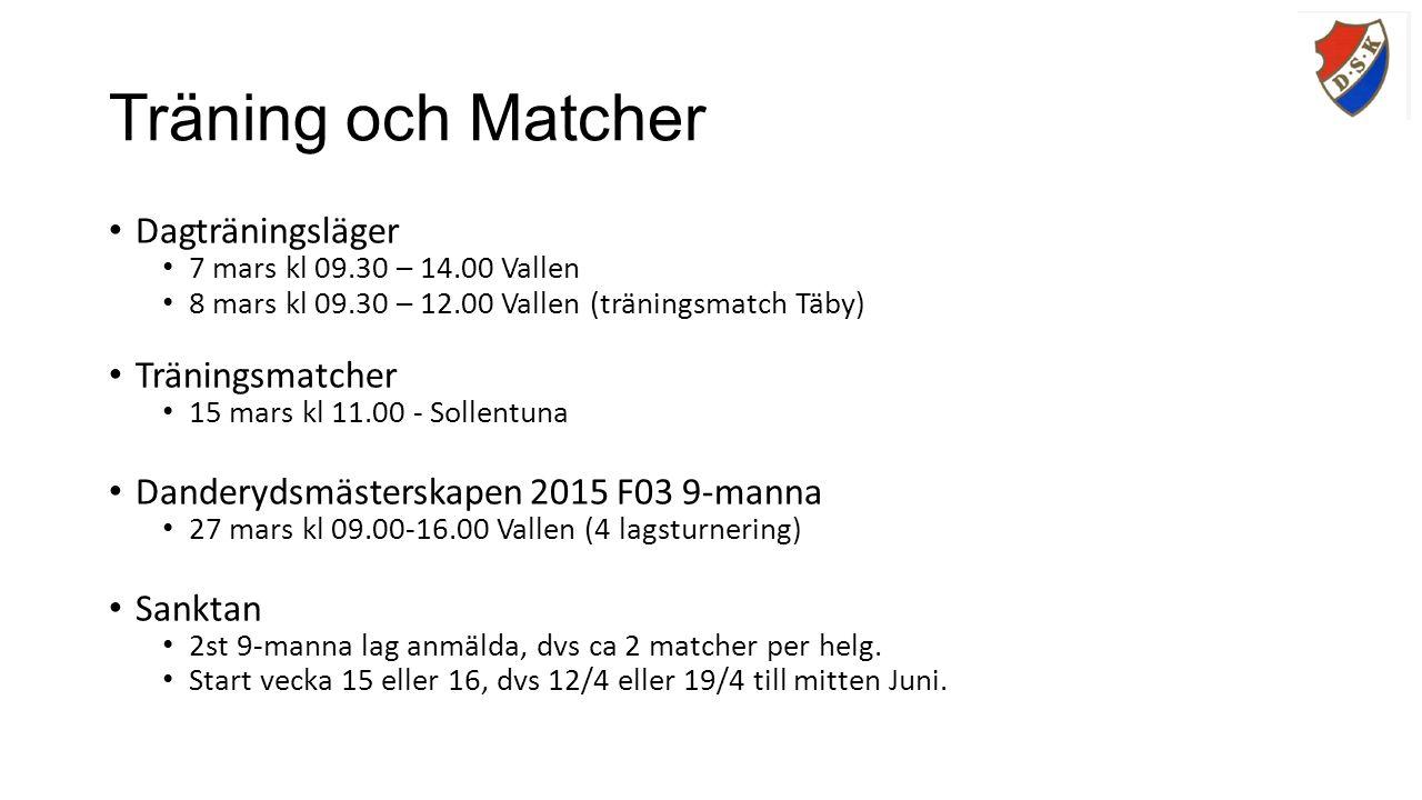Träning och Matcher Dagträningsläger 7 mars kl 09.30 – 14.00 Vallen 8 mars kl 09.30 – 12.00 Vallen (träningsmatch Täby) Träningsmatcher 15 mars kl 11.00 - Sollentuna Danderydsmästerskapen 2015 F03 9-manna 27 mars kl 09.00-16.00 Vallen (4 lagsturnering) Sanktan 2st 9-manna lag anmälda, dvs ca 2 matcher per helg.