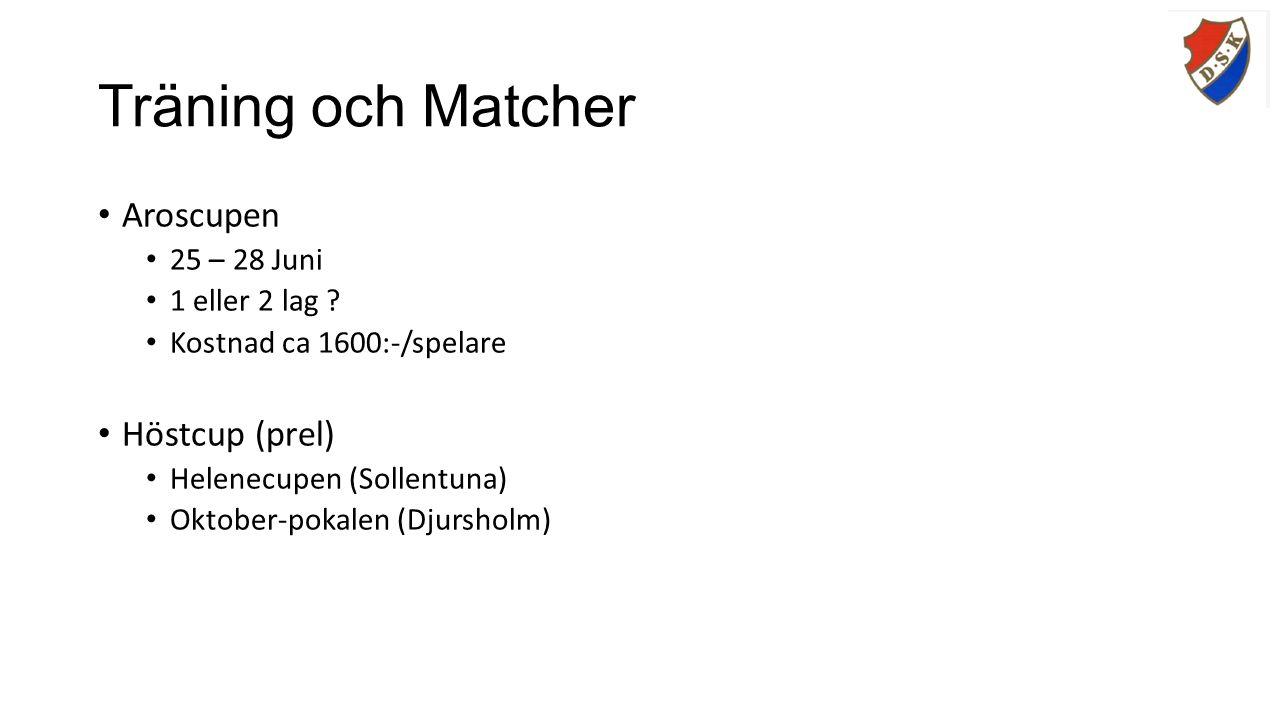 Träning och Matcher Aroscupen 25 – 28 Juni 1 eller 2 lag .