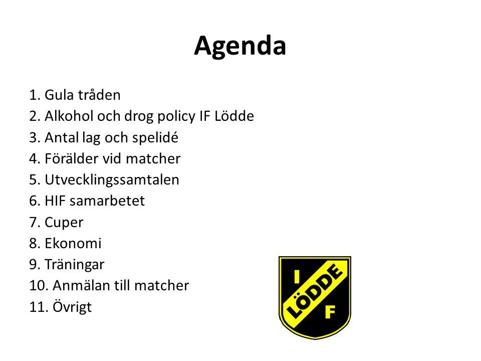 Agenda 1.Gula tråden 2. Alkohol och drog policy IF Lödde 3.