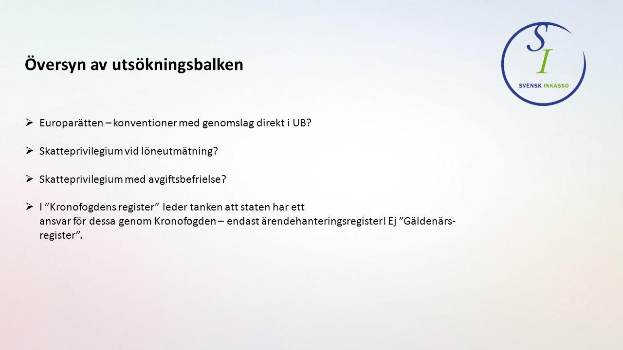 Översyn av utsökningsbalken  Europarätten – konventioner med genomslag direkt i UB.