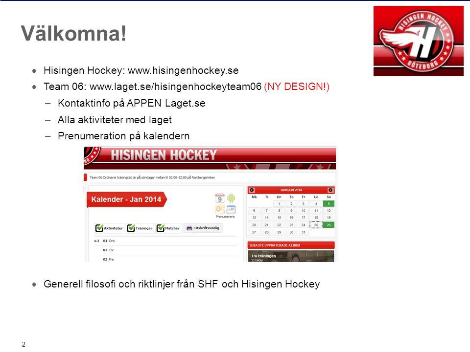  Hisingen Hockey: www.hisingenhockey.se  Team 06: www.laget.se/hisingenhockeyteam06 (NY DESIGN!) –Kontaktinfo på APPEN Laget.se –Alla aktiviteter me