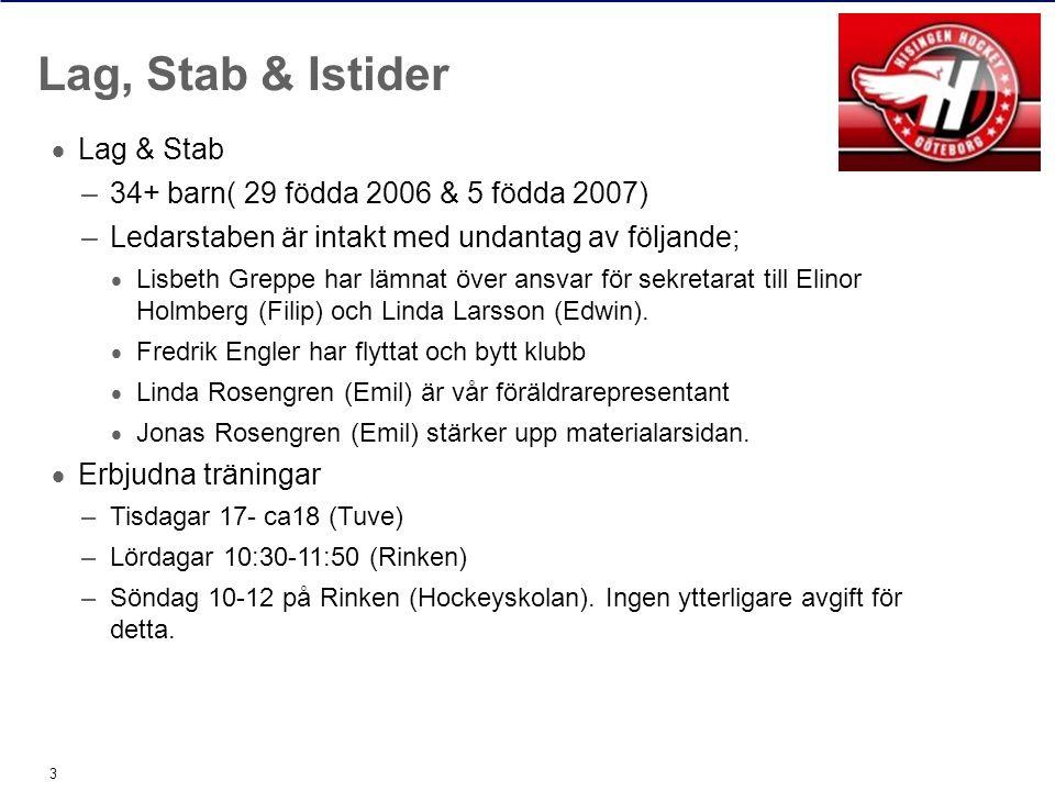  Lag & Stab –34+ barn( 29 födda 2006 & 5 födda 2007) –Ledarstaben är intakt med undantag av följande;  Lisbeth Greppe har lämnat över ansvar för sekretarat till Elinor Holmberg (Filip) och Linda Larsson (Edwin).