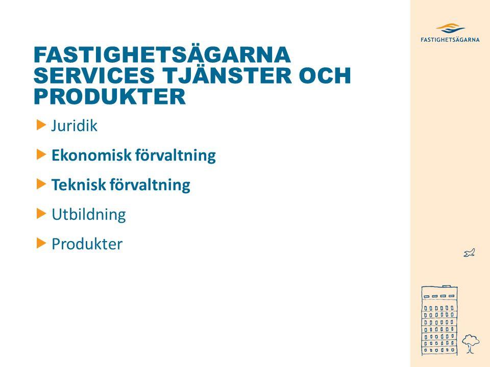 FASTIGHETSÄGARNA SERVICES TJÄNSTER OCH PRODUKTER  Juridik  Ekonomisk förvaltning  Teknisk förvaltning  Utbildning  Produkter