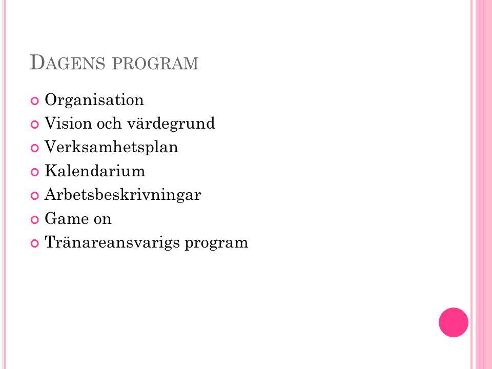 D AGENS PROGRAM Organisation Vision och värdegrund Verksamhetsplan Kalendarium Arbetsbeskrivningar Game on Tränareansvarigs program
