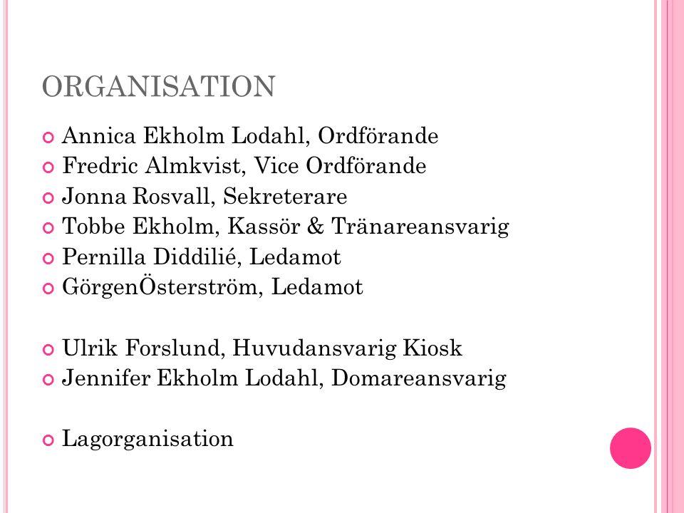 ORGANISATION Annica Ekholm Lodahl, Ordförande Fredric Almkvist, Vice Ordförande Jonna Rosvall, Sekreterare Tobbe Ekholm, Kassör & Tränareansvarig Pernilla Diddilié, Ledamot GörgenÖsterström, Ledamot Ulrik Forslund, Huvudansvarig Kiosk Jennifer Ekholm Lodahl, Domareansvarig Lagorganisation