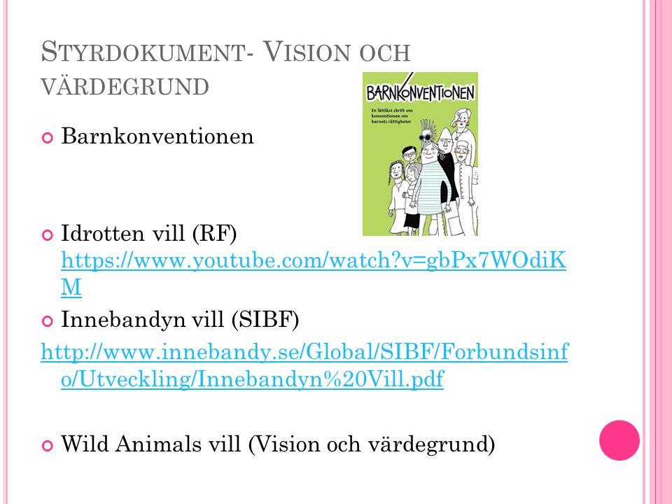 S TYRDOKUMENT - V ISION OCH VÄRDEGRUND Barnkonventionen Idrotten vill (RF) https://www.youtube.com/watch?v=gbPx7WOdiK M https://www.youtube.com/watch?v=gbPx7WOdiK M Innebandyn vill (SIBF) http://www.innebandy.se/Global/SIBF/Forbundsinf o/Utveckling/Innebandyn%20Vill.pdf Wild Animals vill (Vision och värdegrund)