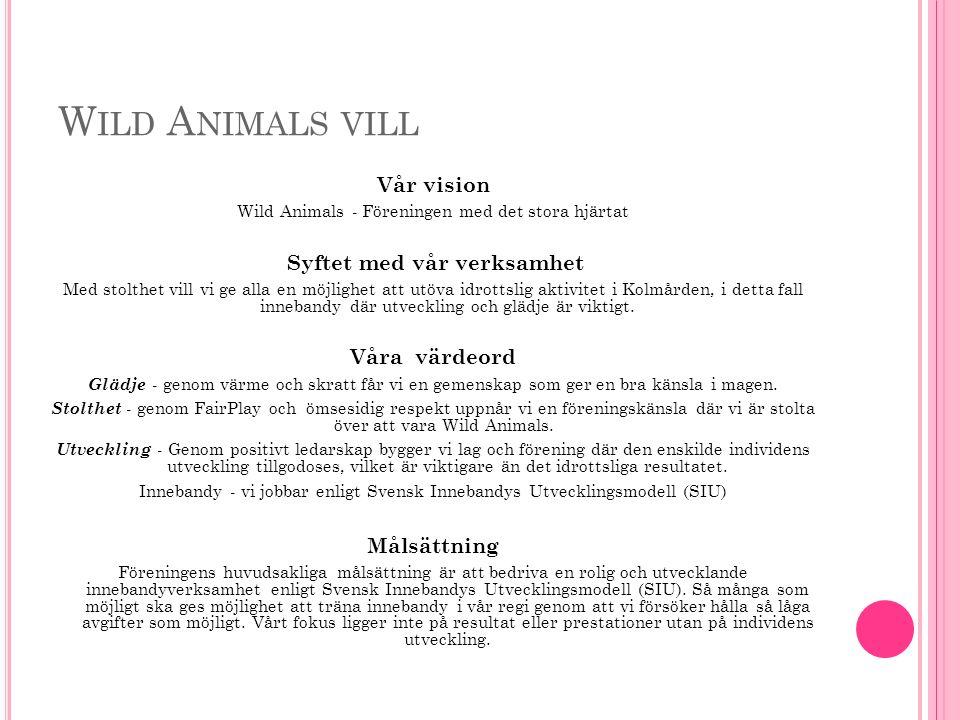 W ILD A NIMALS VILL Vår vision Wild Animals - Föreningen med det stora hjärtat Syftet med vår verksamhet Med stolthet vill vi ge alla en möjlighet att utöva idrottslig aktivitet i Kolmården, i detta fall innebandy där utveckling och glädje är viktigt.