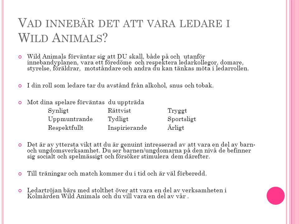 V AD INNEBÄR DET ATT VARA LEDARE I W ILD A NIMALS ? Wild Animals förväntar sig att DU skall, både på och utanför innebandyplanen, vara ett föredöme oc