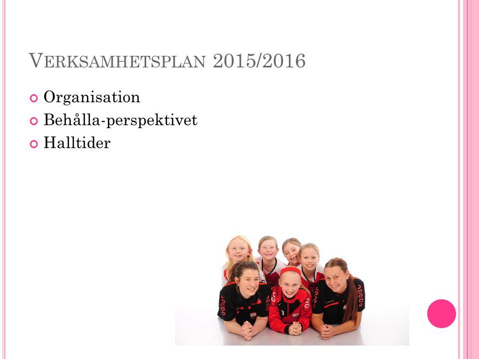 V ERKSAMHETSPLAN 2015/2016 Organisation Behålla-perspektivet Halltider