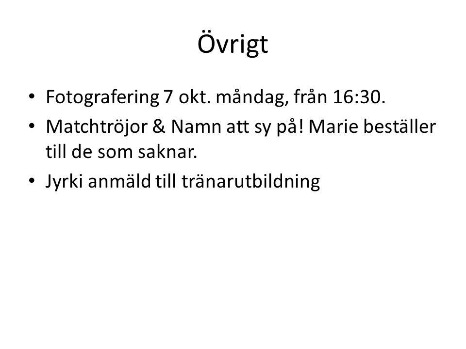 Övrigt Fotografering 7 okt. måndag, från 16:30. Matchtröjor & Namn att sy på.