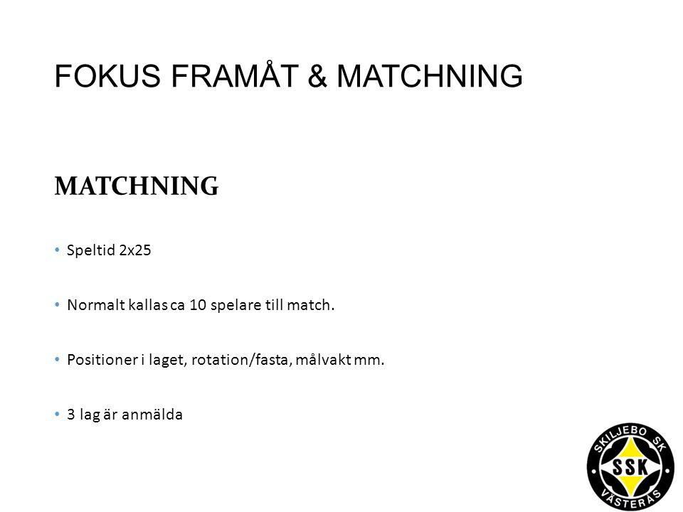 FOKUS FRAMÅT & MATCHNING MATCHNING Speltid 2x25 Normalt kallas ca 10 spelare till match.