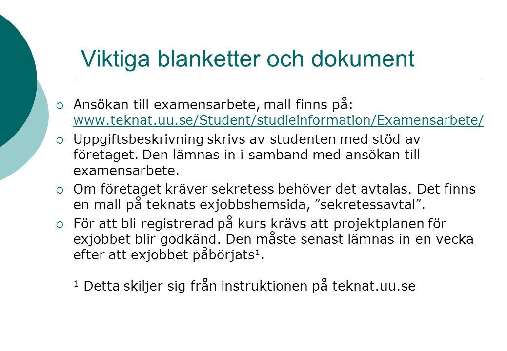 Viktiga blanketter och dokument  Ansökan till examensarbete, mall finns på: www.teknat.uu.se/Student/studieinformation/Examensarbete/ www.teknat.uu.se/Student/studieinformation/Examensarbete/  Uppgiftsbeskrivning skrivs av studenten med stöd av företaget.