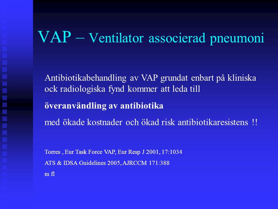 VAP – Ventilator associerad pneumoni Antibiotikabehandling av VAP grundat enbart på kliniska ock radiologiska fynd kommer att leda till överanvändling av antibiotika med ökade kostnader och ökad risk antibiotikaresistens !.