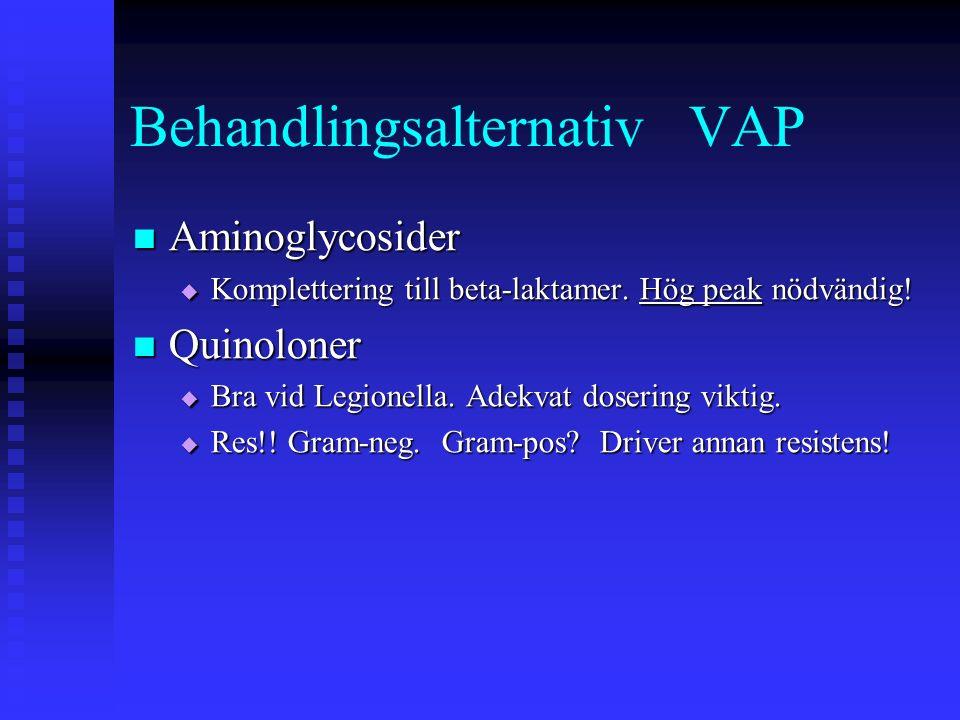 Behandlingsalternativ VAP Aminoglycosider Aminoglycosider  Komplettering till beta-laktamer.